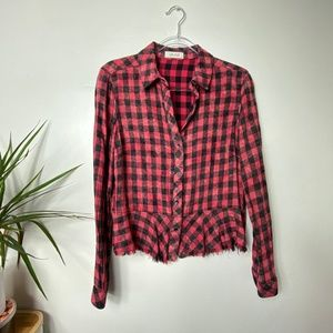 Bella Dahl Distressed Red Plaid Button Down